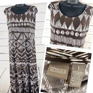 CHICOS medium Maxi Jersey Tribal Dress brown white